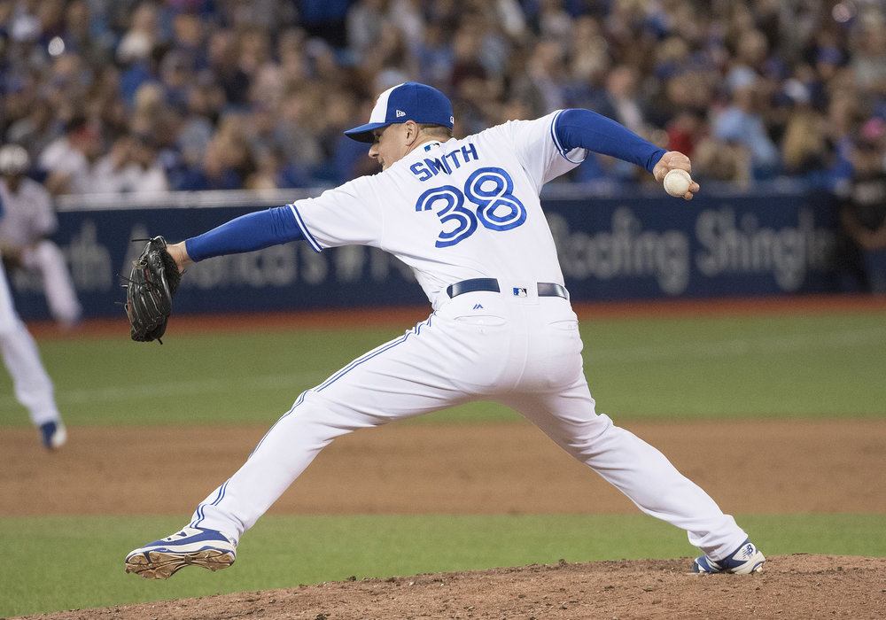 Sidearm reliever Joe Smith posted a 3.28 ERA in 35 2/3 innings for the Toronto Blue Jays in 2017 before being dealt to the Cleveland Indians last July.