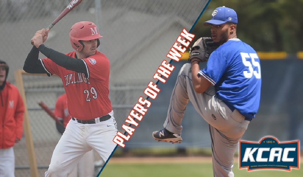 C Evan Willow (Victoria, BC) of the McPherson Bulldogs and RHP Nathan Arruda (Toronto, Ont.) of the Tabor BlueJays earned KCAC Player and Pitcher of the Week. Willow, former Victoria Eagle, was 6-for-8 with two home runs and nine RBIs as the Bulldogs swept a doubleheader at Oklahoma Panhandle State. Arruda, s former Ontario Blue Jay, pitched seven scoreless in a 2-0 win over Colorado Christian striking out nine.