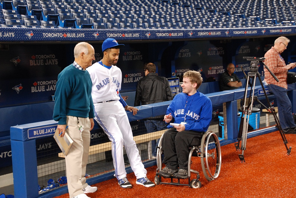 Howarth and his pal Jonathan Hodgson (Calgary, Alta.) of the Canadian Baseball Network interviewing Jays OF Dalton Pompey (Mississauga, Ont.) at the Rogers Centre.