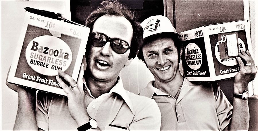 Mike Cannon (left) and Ken Carson deliver a shipment of bubblegum to the Toronto Blue Jays clubhouse to prepare for the team's first spring training in 1977.