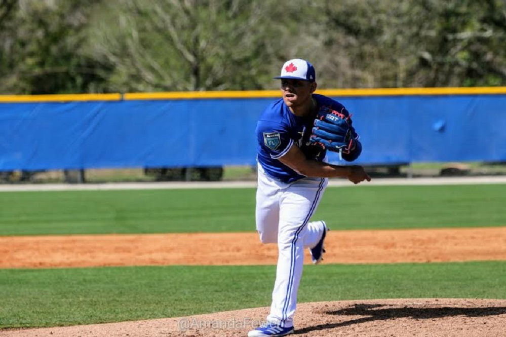 Closer Roberto Osuna, who had 39 saves last year gets in some work. On the season  Osuna was 3-4 with a 3.38 ERA in 66 games. He walked nine and struck out 83 in 64 innings. Photos: Amanda Fewer.