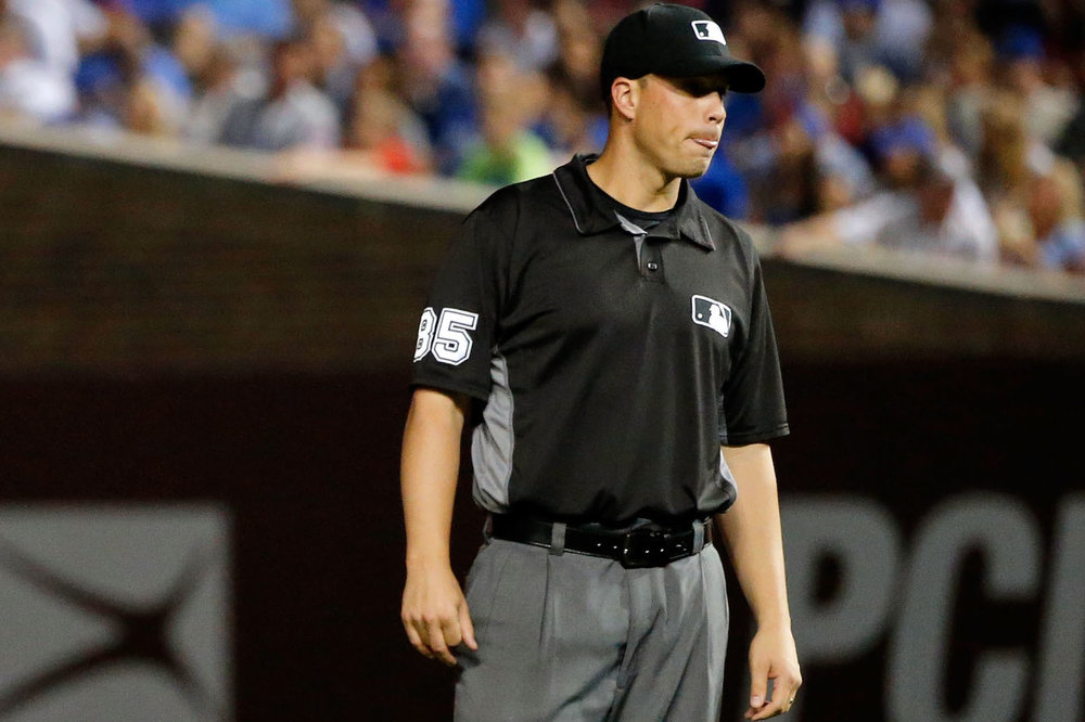 Regina, Sask., native Stu Scheurwater has been hired as a full-time major league umpire. Photo Credit: Getty Images