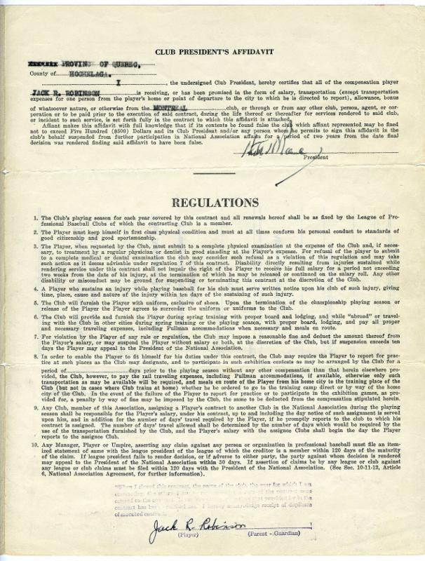 Jackie Robinson's 1946 contract with the International League's Montreal Royals. Photo Credit: Goldin Auctions