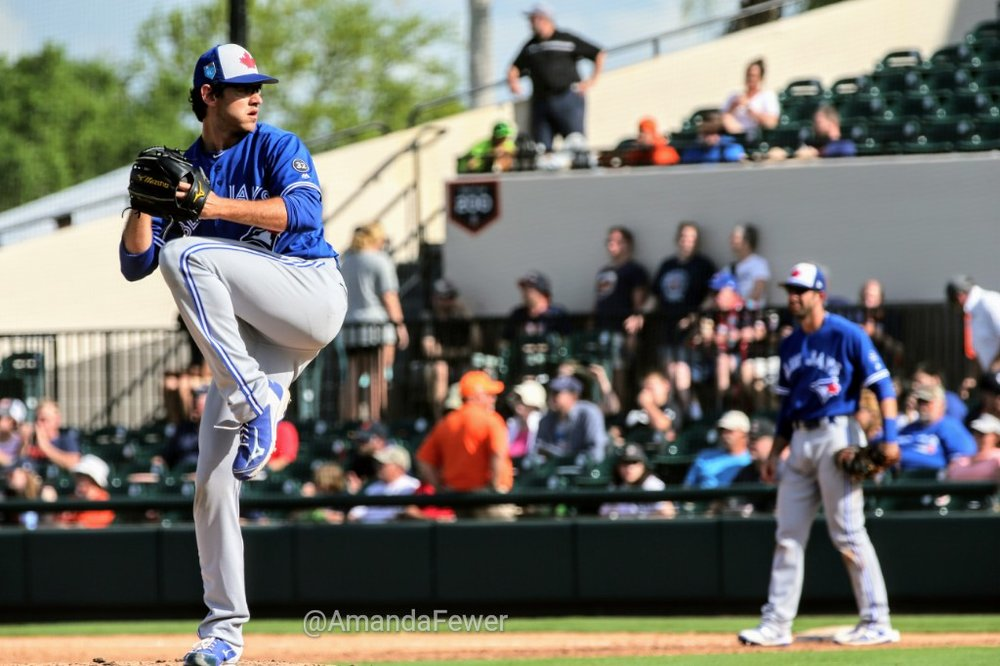 Right-hander Jordan Romano (Markham, Ont.) pitched a scoreless eighth inning for the Blue Jays against the Tigers on Saturday in his Grapefruit League debut.