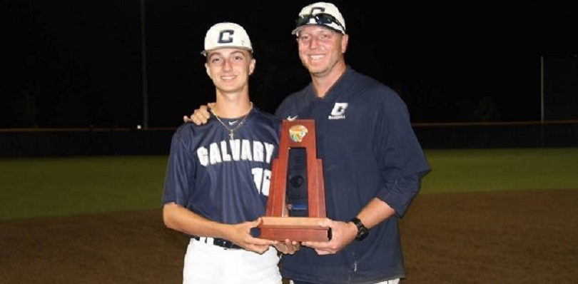 Braden Halladay with his father, his pitching coach Roy Halladay after Calvary Christian won the state title with a 30-0 record last spring.