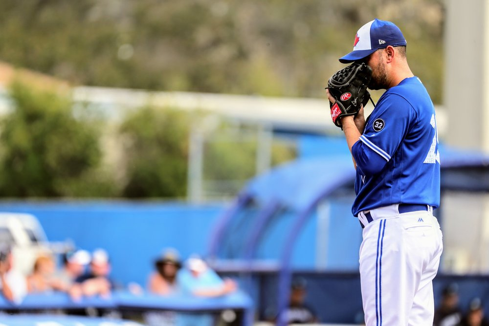 Estrada's tossed a scoreless first inning for the Blue Jays in his 2018 spring debut.