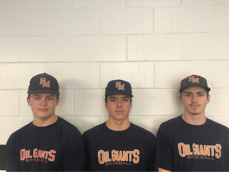 Justin Breen (left), Max Poole (centre) and Quinn Tassie (right) all honed their skills in the Fort McMurray baseball program.