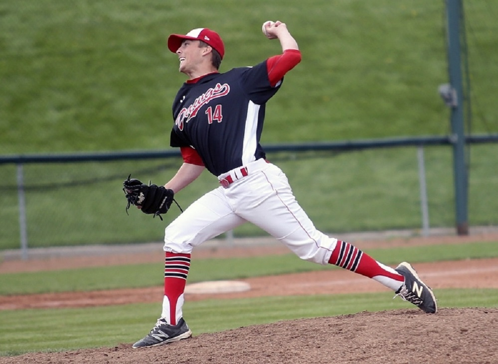 Former Okotoks Dawgs LHP Ryan Morgan (St. John's, NL) allowed  two runs in 7 2/3 innings for the Colby Trojans