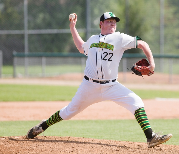 Former Okotoks Dawgs' RHP Zach Demchenko (Saskatoon, Sask.) pitched eight scoreless for the Northeasternnn Plainsmen.