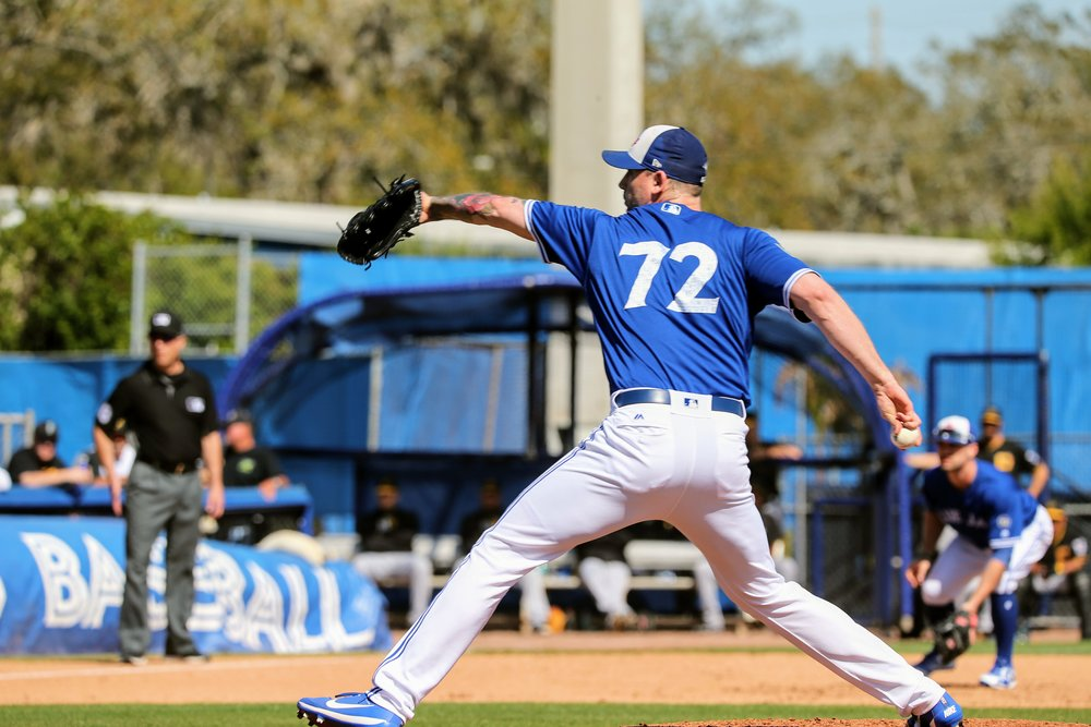 Port Dover, Ont., native John Axford tossed a scoreless fifth inning for the Toronto Blue Jays in their 13-4 win over the Pittsburgh Pirates at Dunedin Stadium on Wednesday. Axford has not been scored on in three appearances this spring.