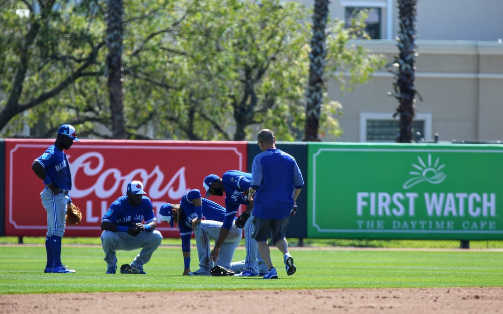 Second baseman Lourdes Gurriel (bent over in middle) appeared to tweak his ankle during a play in the second inning. He would stay in the game and single in his at bat in the third inning before Bo Bichette pinch ran for him.
