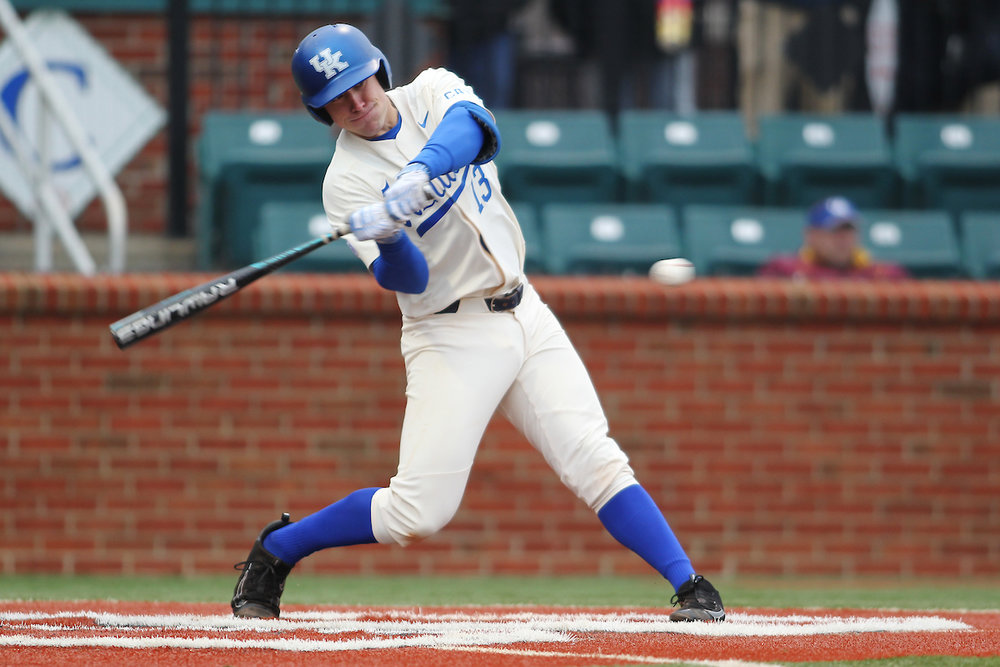 1B Kole Cottam, whose roots go back to Burlington, Ont., knocked in four runs with a double and a homer as the Kentucky Wildcats handed No. 3 Texas Tech a 10-7 loss. Photo: Quinn Foster, UK Athletics.