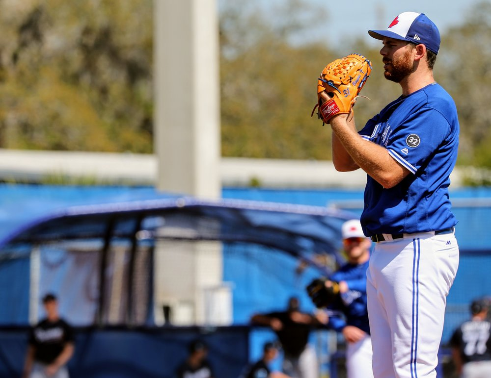 Toronto Blue Jays right-hander Joe Biagini says his poor performance on Sunday (five earned runs in 1 2/3 innings) was due to poor command of his offspeed pitches. Photo Credit: Amanda Fewer (File photo)