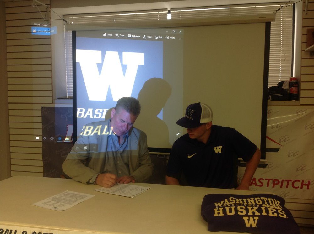 RHP David Rhodes, along with his father Mike, commit to the Washington Huskies.