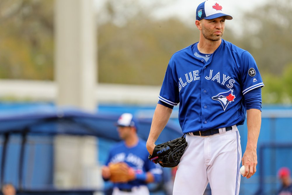 Toronto Blue Jays starter J.A. Happ allowed four runs on seven innings in 4 2/3 innings in his club's 6-4 loss to the Boston Red Sox in Grapefruit League action at Dunedin Stadium on Monday.