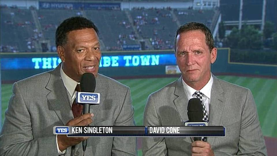Yankees YES broadcaster Ken Singleton, who said Monday that 2018 will be his final season, and former Blue Jays RHP David Cone.
