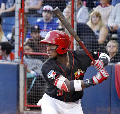 Toronto Blue Jays outfield prospect Chavez Young hit .308 in five games with the Short-Season class-A Vancouver Canadians in 2017. Photo Credit: Mark Steffens, Vancouver Canadians