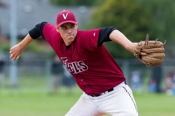 Former Victoria Marinners' RHP Jacob Potter (Victoria, BC)) allowed one run in four innings for the Alllen County Red Devils.