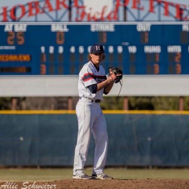Former Prospects Academy RHP Taran Oulton (St. Albert, Alta.) pitched eight innings and struck out nine for the Willliams Woods Crdinals. Photo: Allie Schweizer.