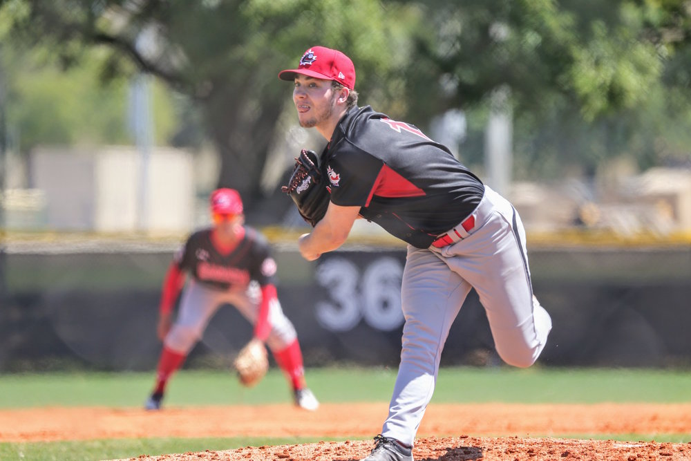 Jaden Griffin (Lower Sackville, N.S.) tossed two scoreless innings and struck out four against a team of Detroit Tigers prospects at the Walter Fuller Complex in St. Petersburg, Fla., on Friday. Photo Credit: Amanda Fewer