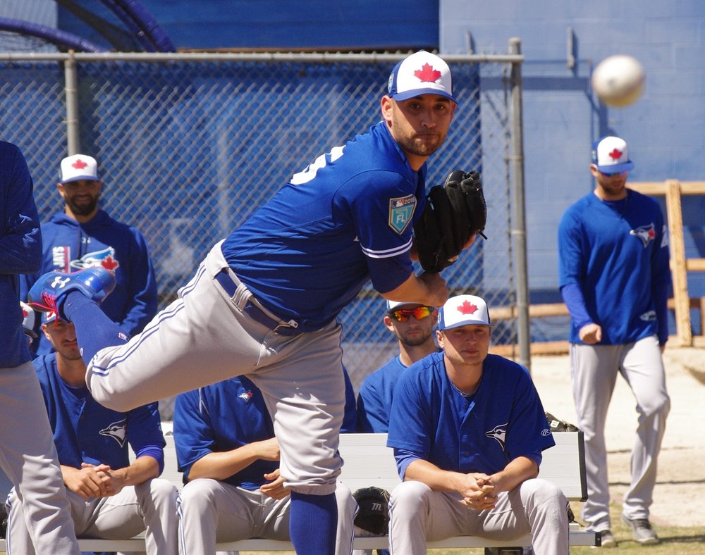 Right-hander Marco Estrada pitched at the Toronto Blue Jays' minor league complex in Dunedin, Fla., on Thursday. Photo Credit: Jay Blue