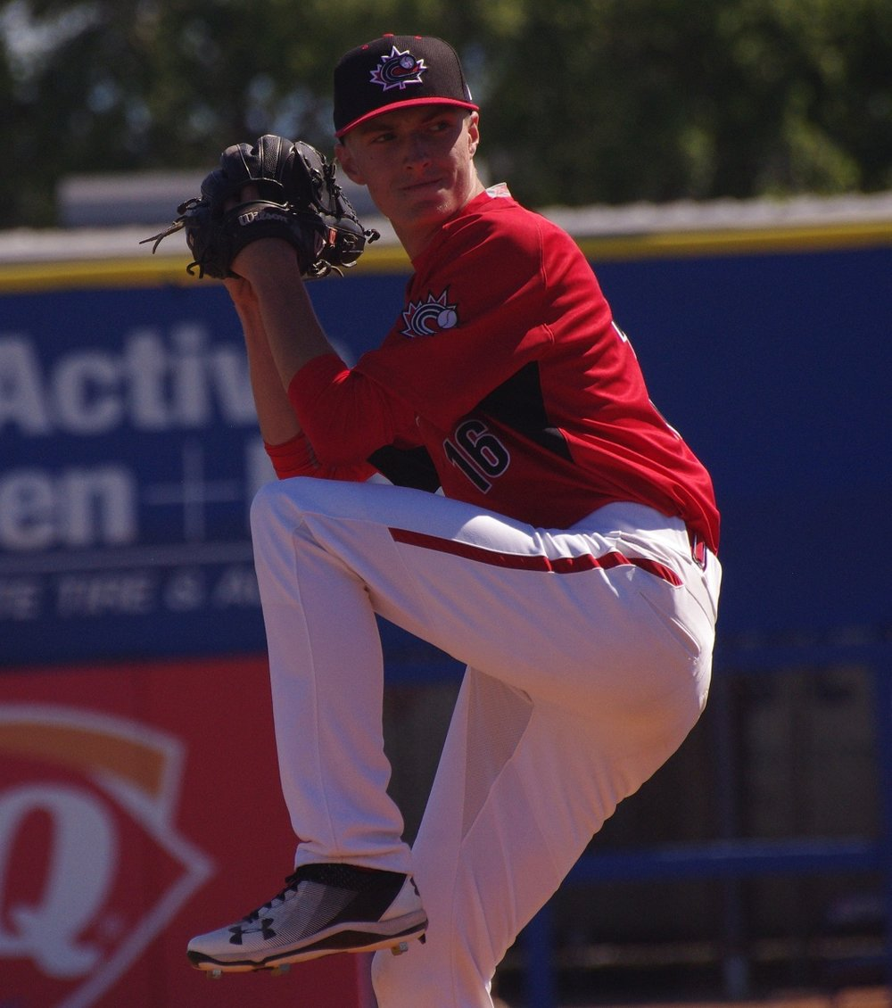 The late Roy Halladay's son, Braden, who was born in Toronto, tossed a scoreless inning for the Canadian Junior National Team in their game against the Toronto Blue Jays at Dunedin Stadium on Saturday.