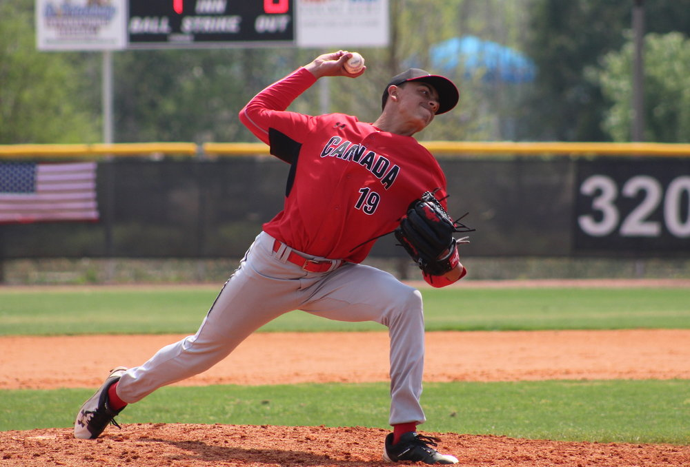 Declan Dutton (Vancouver, B.C.) pitched two innings in relief for the Canadian Junior National Team on Monday afternoon. Photo Credit: Baseball Canada