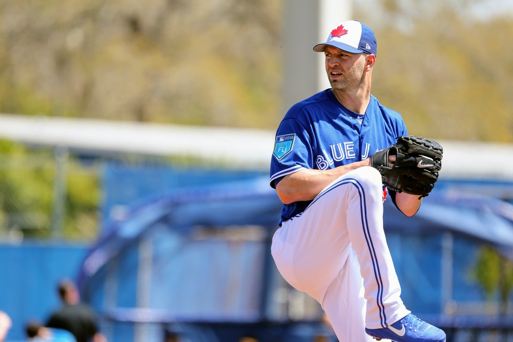Left-hander J.A. Happ started and pitched six strong innings, allowing only one run on four hits, in the Toronto Blue Jays' 5-2 win over the Pittsburgh Pirates at Dunedin Stadium on Sunday. Photo Credit: Amanda Fewer