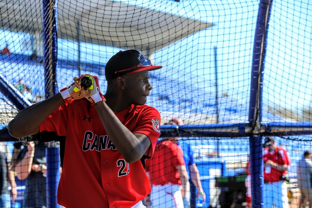 OF Denzel Clarke (Pickering, Ont.) of the Toronto Mets. Photo: Amanda Fewer.
