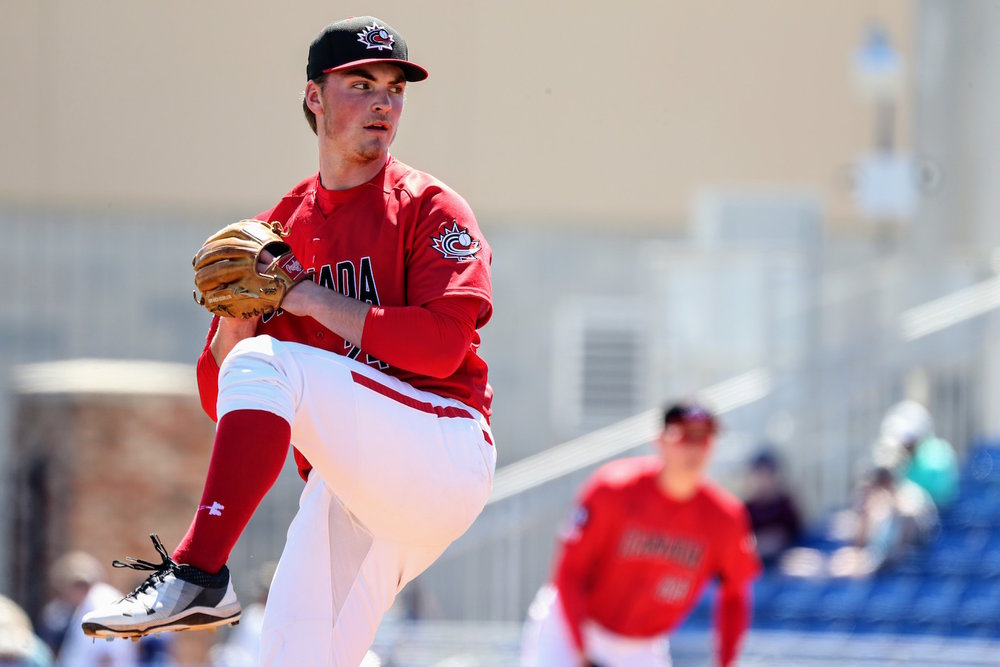 Tate Dearing (White Rock, B.C.) pitched three shutout innings for the Canadian Junior National Team against a team of Toronto Blue Jays prospects on Wednesday. Photo Credit: Amanda Fewer
