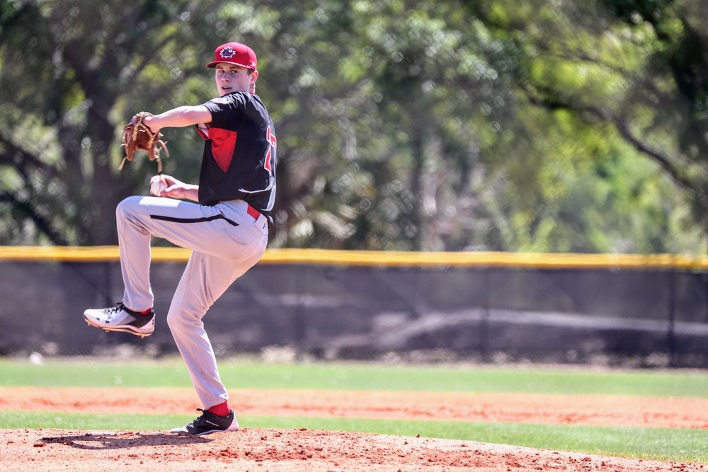 Right-hander Griffin Hassall (Newmarket, Ont.), of the Great Lake Canadians, started and tossed two scoreless innings for the Canadian Junior National Team against a team of Tampa Bay Rays prospects on Saturday. Photo Credit: Baseball Canada