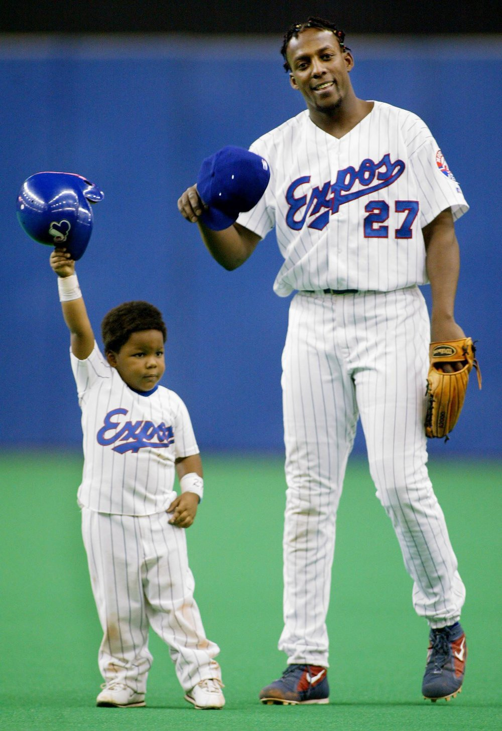 There won't be a reunion of Vladimir Guerrero Jr. (left) and his dad (right) at Olympic Stadium on Monday or Tuesday when the Toronto Blue Jays play two exhibition games at The Big O. Photo: Paul Chiasson, AP