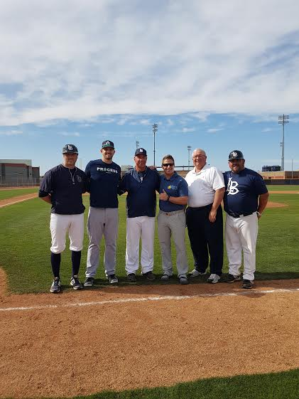 Jamie Bodaly, left, of the Blaze; Mariners' ace James Paxton; Langley's Doug Mathieson; Tim Kissner, Mariners Director of International Scouting; Mariners scout Ted Heid, Junior Deleon of the Blaze.