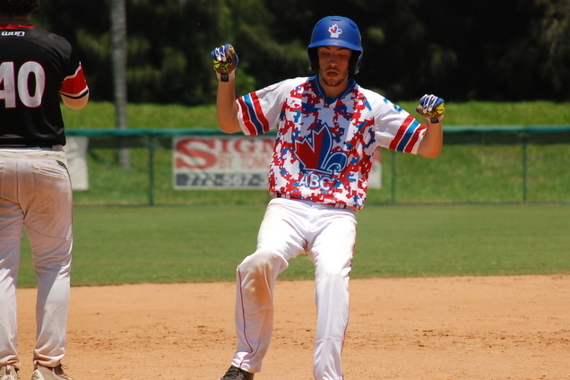 ABC alumni OF Marc Lebreux (Sainte-Anne, Que.) had three home runs for Seminole State. Photo: Jacques Lanciault.