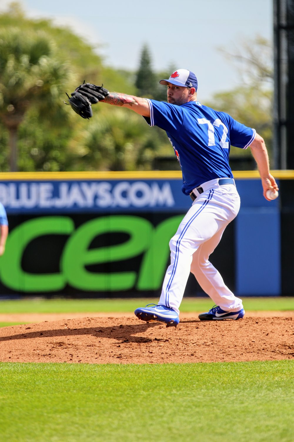 Right-hander John Axford (Port Dover, Ont.) will be in the Toronto Blue Jays' bullpen to open the season. He is one of five Canadians on major league Opening Day rosters. Photo Credit: Amanda Fewer