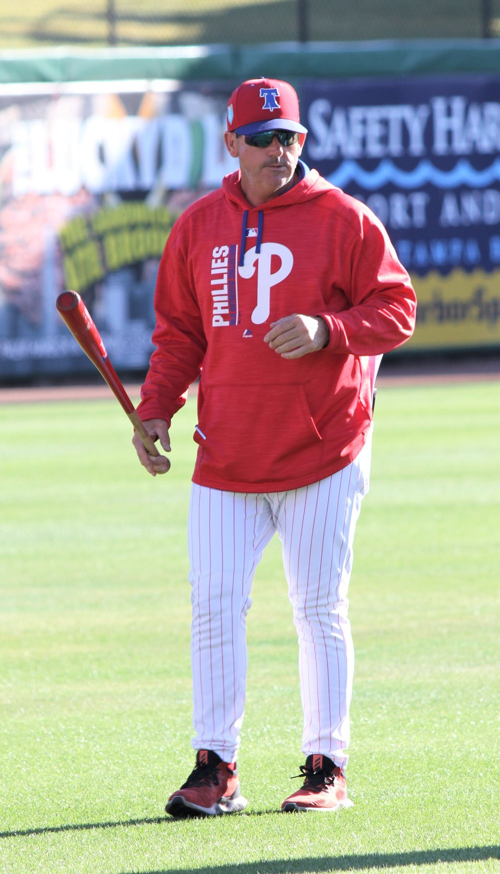 Philadelphia Phillies' bench coach Rob Thomson (Corunna, Ont.) has impressed his new club with his ability to connect with the players. Photos: Matt Antonacci