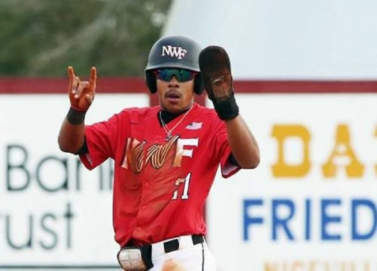 Pirates of Laval's Miguel Cienfuegos (Laval, Que.) had four hits for thee Northwest Florida State Raiders.