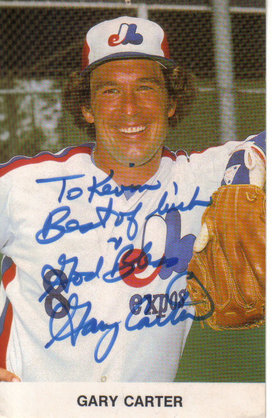 Gary Carter, who would be 64 today, sent this postcard to the writer in 1984. The writer was an 11-year-old Montreal Expos fan at the time and had written Carter a letter.