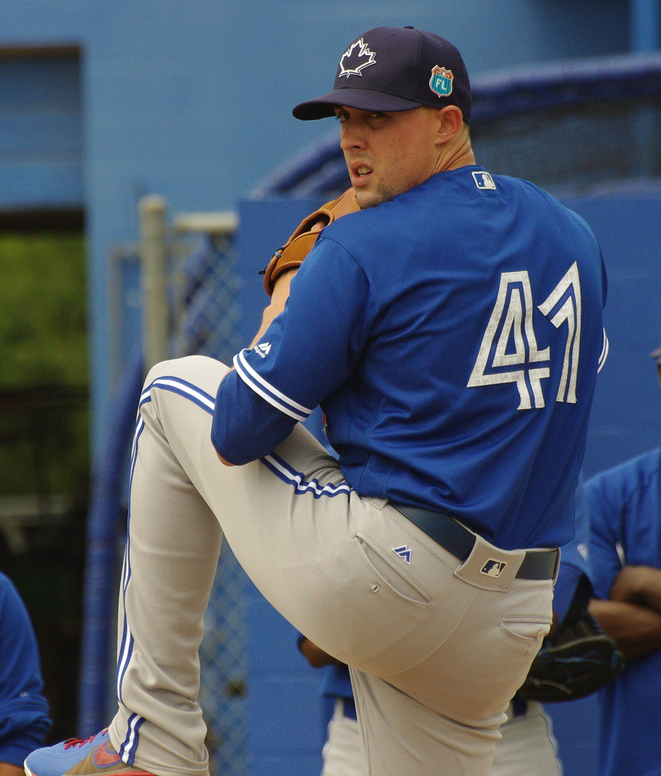 Right-hander Aaron Sanchez carried a no-hitter into the eighth inning on Tuesday against the Baltimore Orioles. Photo Credit: Jay Blue