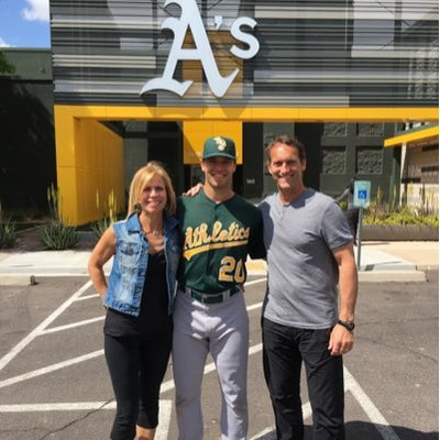 OF Brett Siddall (Windsor, Ont.), shown here with his mom Tamara and pop, Joe, Sportsnet broadcaster, has been assigned by the Oakland Athletics to double-A Midland Rockhounds