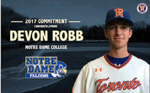 Toronto Mets grad and Kingston Ponies Devon Robb (Kingston, Ont. -- first capital of Canada) picked up the win for the Notre Dame Falcons against West Liberty.