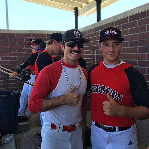 Former Windsor Selects slugger Gibson Krzeminski (Tecumseh, Ont.), right, with every college student's mentor Domingo Ayala, had five hits for Iowa Western.