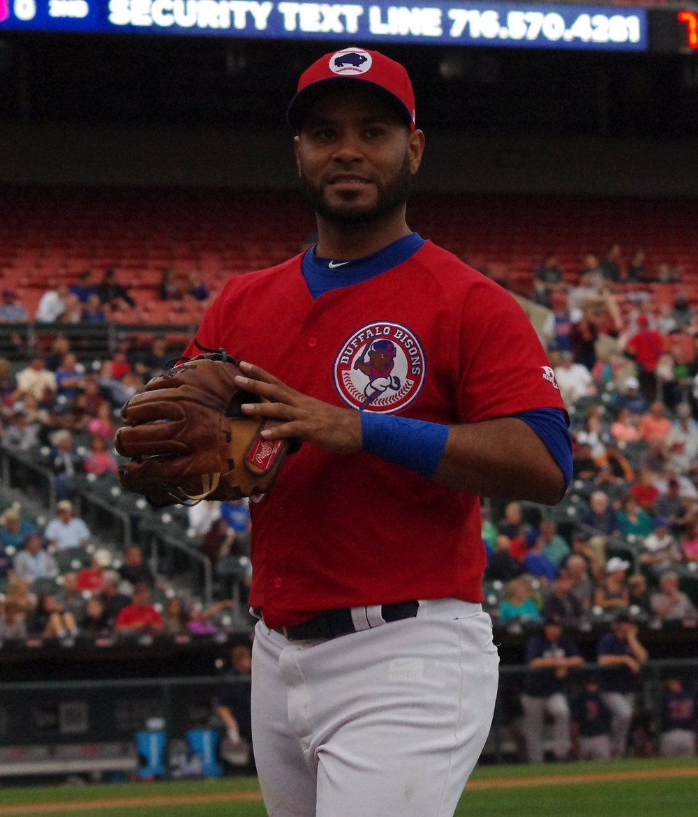 Prior to his big league call-up on Friday, Teoscar Hernandez homered for the triple-A Buffalo Bisons on Thursday. Photo Credit: Jay Blue
