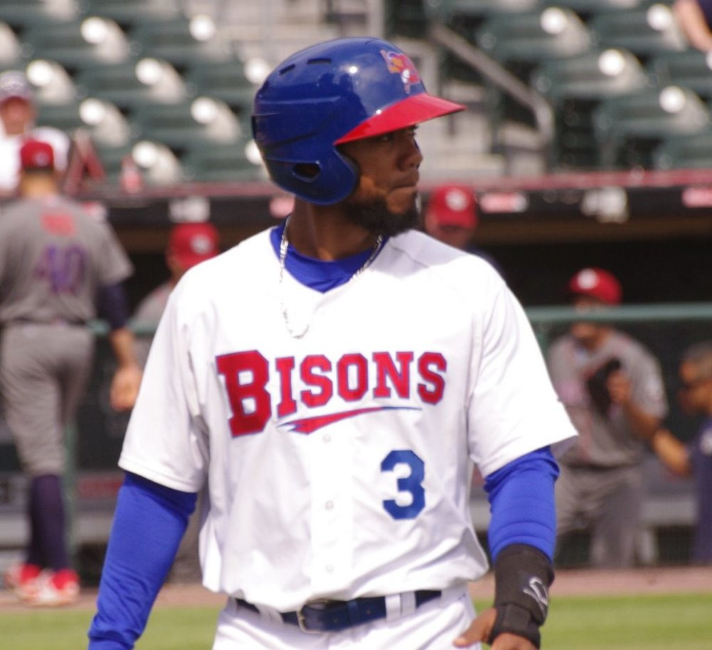 After being recalled from triple-A Buffalo, Teoscar Hernandez had two doubles for the Toronto Blue Jays on Friday in their 8-4 win over the Cleveland Indians. Photo Credit: Jay Blue