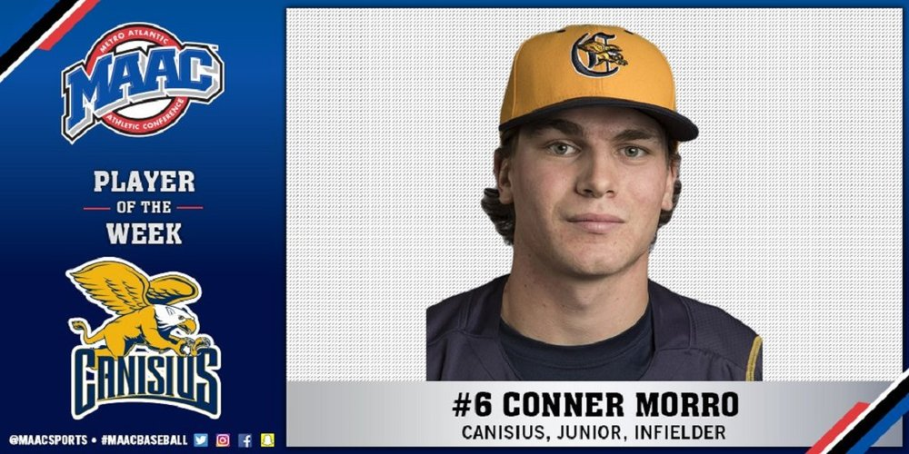 Ontario Blue Jays grad Conner Morro went 7-for-10 with five RBIs for the Canisius Golden Griffins.