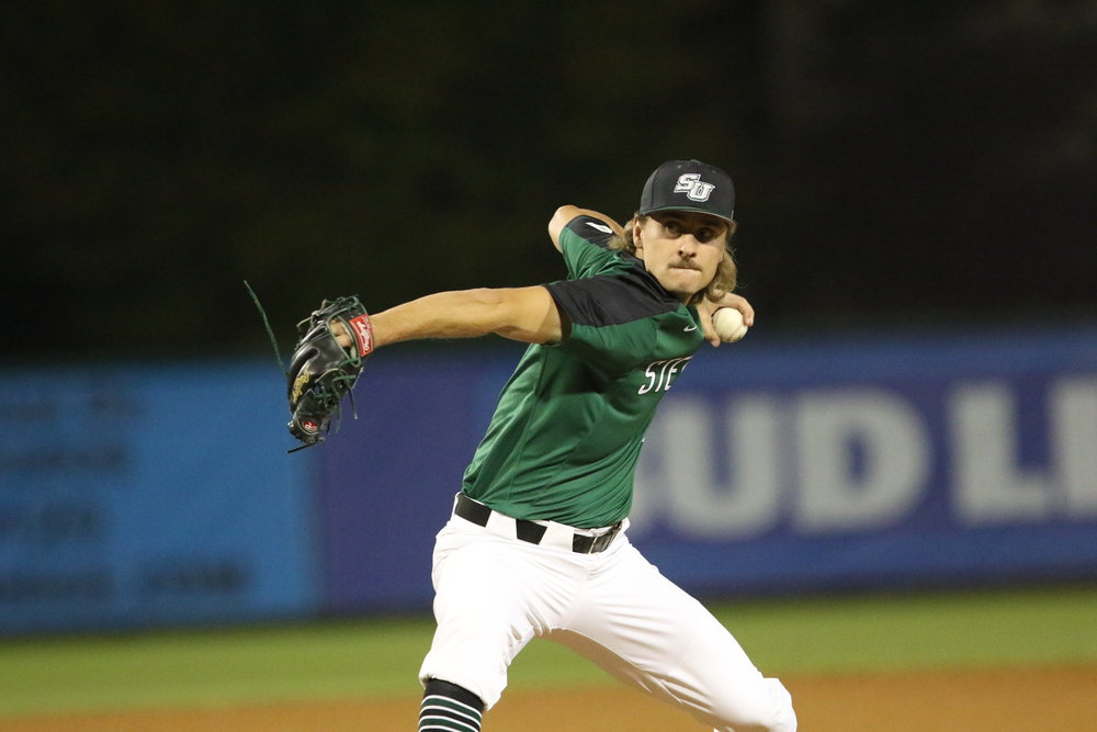 Vauxhall Academy Jets grad Ben Onyshko (Winnipeg, Man.) tossed four zeros for the Stetson Hatters.