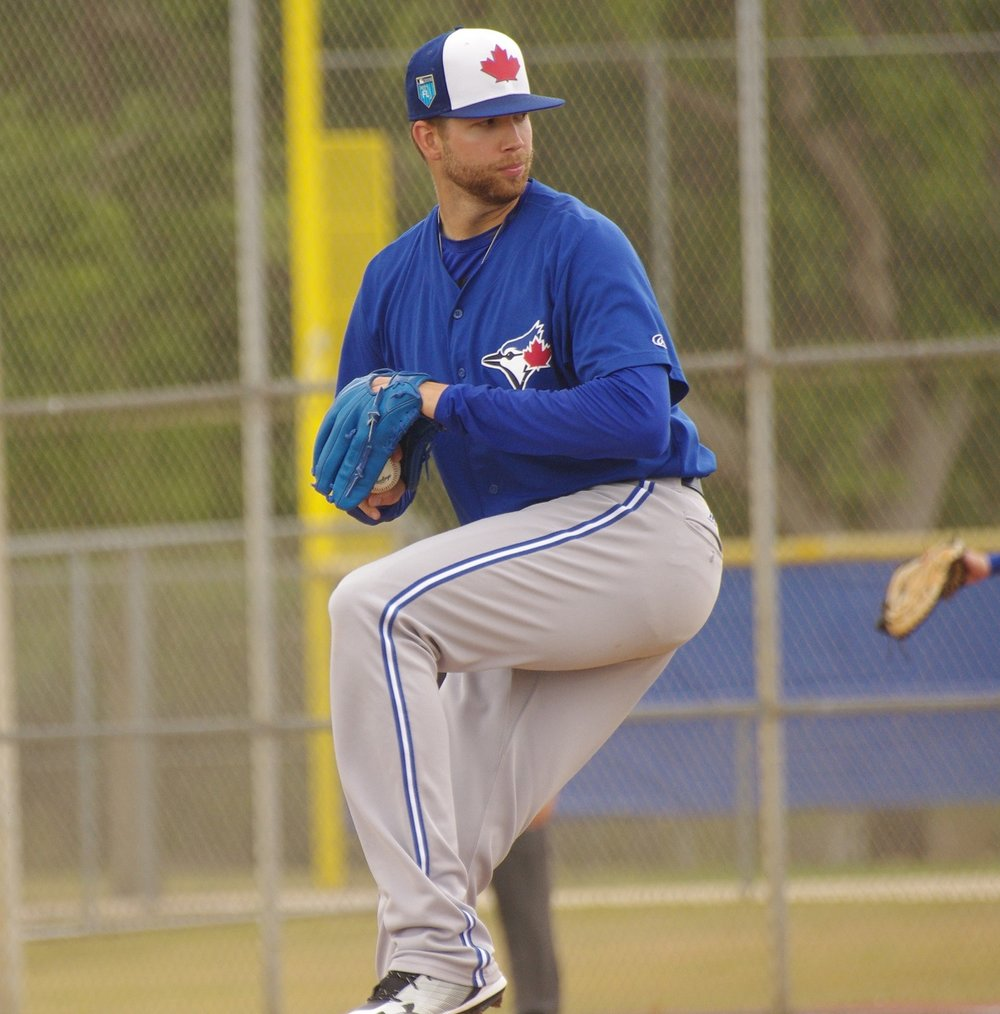 Right-hander T.J. Zeuch pitched six scoreless innings for the class-A Advanced Dunedin Blue Jays on Tuesday to record his second win of the season. Photo Credit: Jay Blue