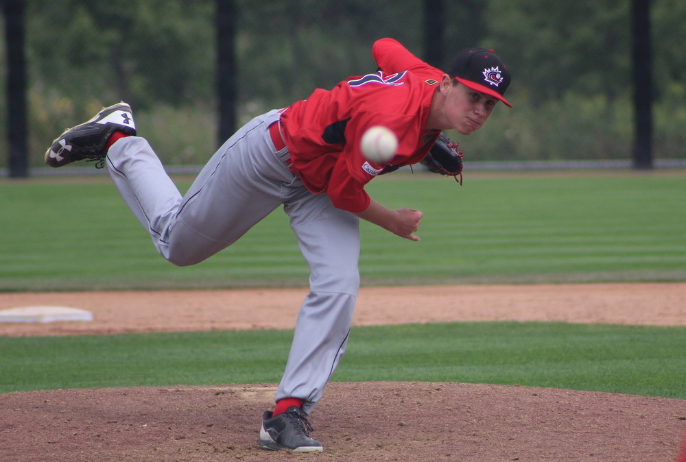 Right-hander Griffin Hassall (Newmarket, Ont.) got the start for the Canadian Junior National Team on Thursday and allowed just one earned run in three innings to a team of Washington Nationals prospects. Photo Credit: Baseball Canada