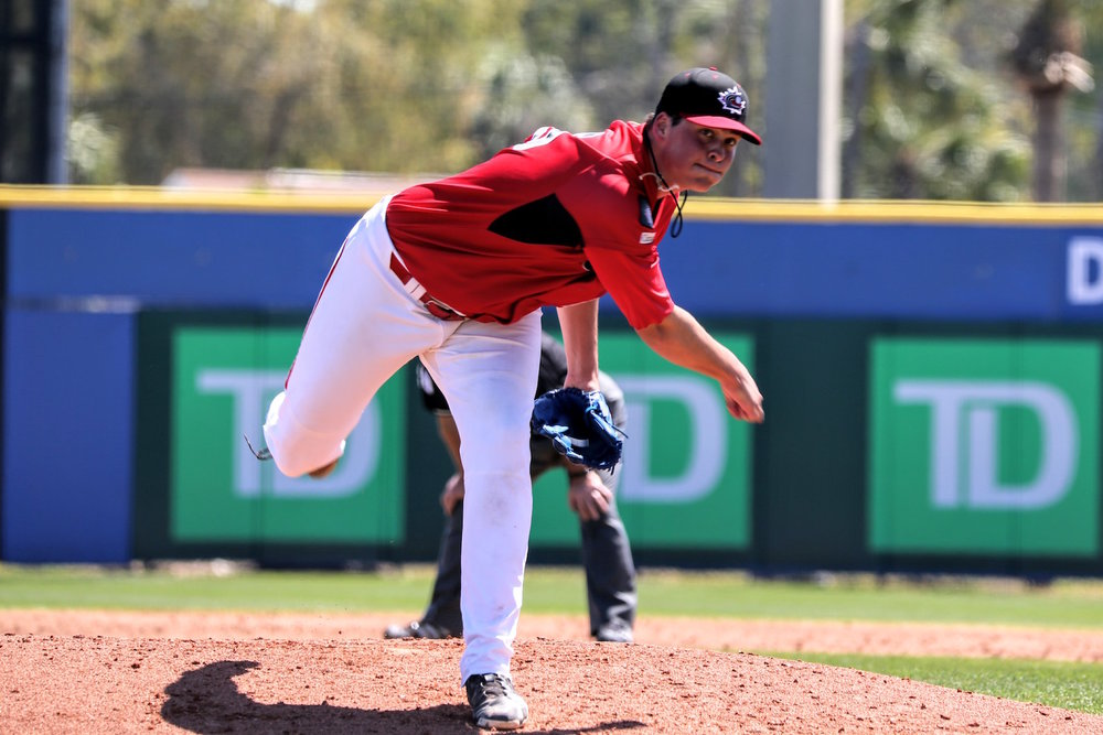Ontario Terriers alum Ben Abram (Georgetown, Ont.) started for the Junior National Team and tossed three scoreless innings in which he didn't allow a hit against a team of Houston Astros prospects on Friday. Photo Credit: Amanda Fewer