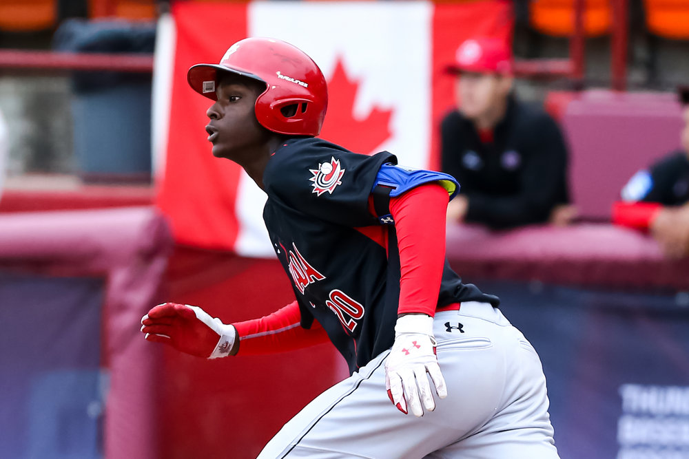Toronto Mets outfielder Denzel Clarke (Pickering, Ont.) drove in the game-winning run in the Canadian Junior National Team's 4-3 win over a team of Minnesota Twins' prospects on Tuesday. Photo Credit: Christian J. Stewart